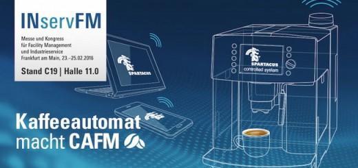 Mit Hilfe eines Kaffee-Automaten macht Spartacus FM auf der INservFM 2016 das Thema Service deutlich