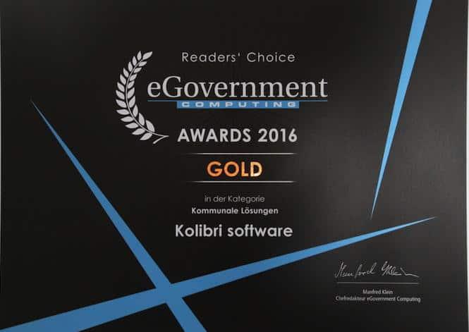 Die Urkunde: Kolibri Software holt Gold in der Kategorie Kommunale Lösungen