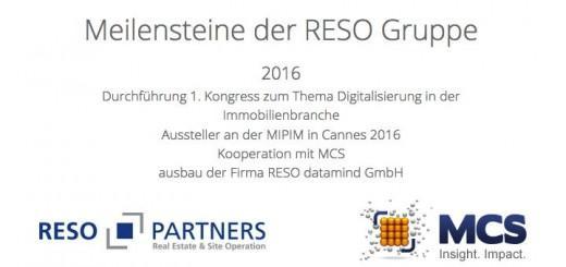 Typo inklusive: Die Reso Group feiert als einen Meilenstein 2016 die Partnerschaft von Reso Partners mit dem CAFM-Anbieter MCS