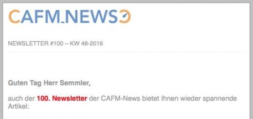 Diesen Sonntag haben die CAFM-News ihren 100. Newsletter verschickt