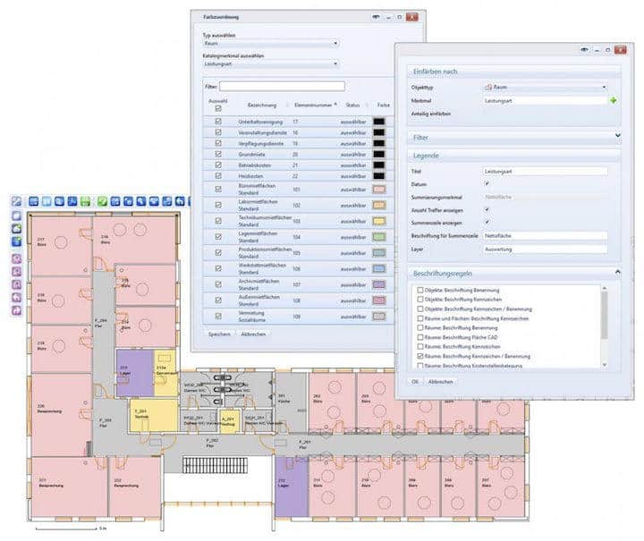 Speedikon C kann ab sofort Kataloge und Kostenstellen mit Farben im CAD-Plan markieren