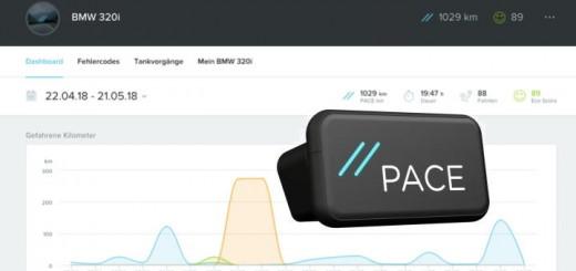 Das Pace-System besteht aus dem Stecker für die ODB2-buchse am Auto, einem Webportal und einer App.