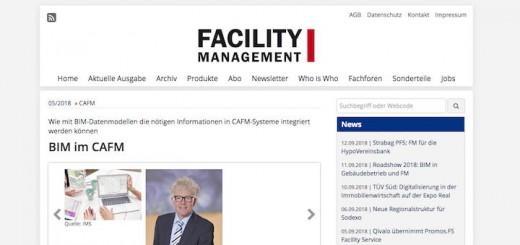 BIM im CAFM ist der Fachartikel überschrieben, der bei Facility Management bereits online verfügbar ist