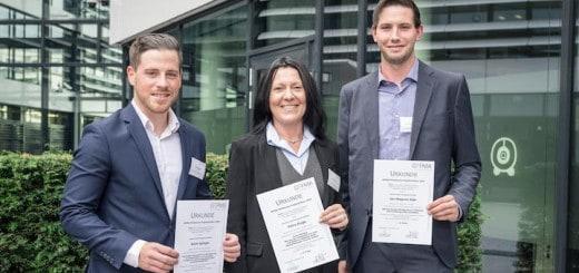 Kevin Spiegel, Petra Kluge, Jan-Magnus Glas (v.l.) sind die Preisträger der GEFMA-Förderpreise für Projektarbeiten 2018