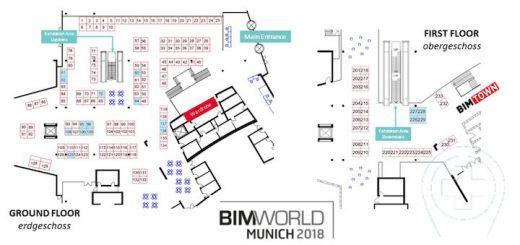 Blaue Fleckchen, bunt verstreut: Das CAFM-Hub der BIM World Munich 2017 ist offenbar Geschichte, zahlreiche Aussteller mit FM-Software sind aber trotzdem vor Ort