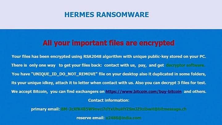 So sieht der Erpresserbrief aus, der die Bitcoin Forderung auf den IDR-Bildschirmen anzeigt – Quelle: BILD