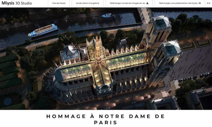 Die belgische Design-Studio Miysis hat ein 3D Rendring für ein neues Dach der Kathedrale Notre Dame de Paris gestaltet