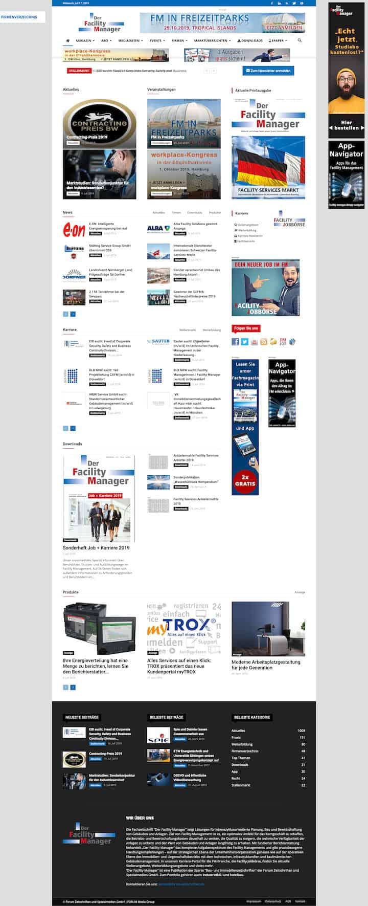 Viele Bilder, wenig Text – die neue Website von Der Facility Manager
